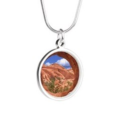 UtahMap28 Silver Round Necklace