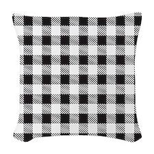 Plaid1_BW1 Woven Throw Pillow