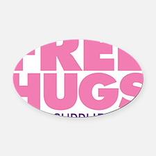Free Hugs Pink Oval Car Magnet
