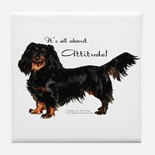 """Dachshund Attitude!"" Tile Coaster"
