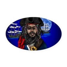 Pirate and Ship-Yardsign Oval Car Magnet