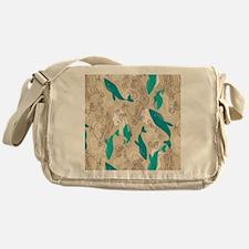 WhaleWaves_TanBlue Messenger Bag
