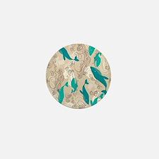 WhaleWaves_TanBlue Mini Button