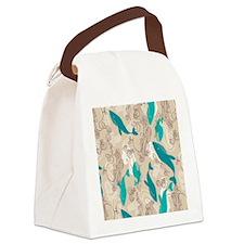 WhaleWaves_TanBlue Canvas Lunch Bag