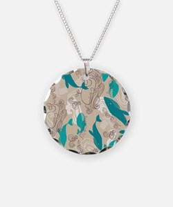 WhaleWaves_TanBlue Necklace