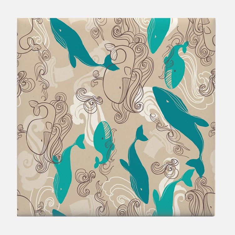 WhaleWaves_TanBlue Tile Coaster