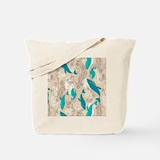WhaleWaves_TanBlue Tote Bag