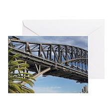 Couple Walking by Sydney Harbor Brid Greeting Card