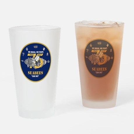 U.S. Navy Seabees 75th Anniversary Drinking Glass