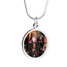 February Poster Print Silver Round Necklace