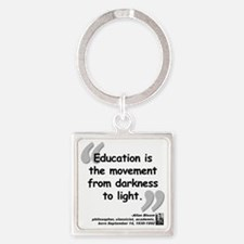 Bloom Education Quote Square Keychain