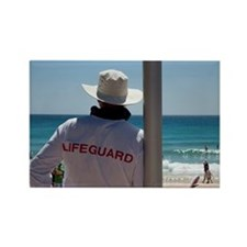 Lifeguard watching people relaxin Rectangle Magnet