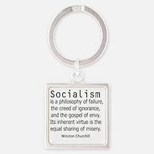 churchillsocialismshirt2.gif Square Keychain