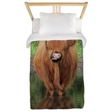 Standard Highland cow head on, Brockenh Twin Duvet