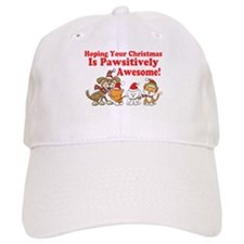 Dogs & Cats Pawsitively Awesome Christmas Baseball Cap