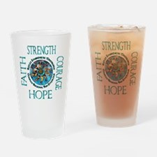 Faith Strength Courage Hope - Block Drinking Glass