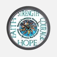 Faith Strength Courage Hope - Block Wall Clock