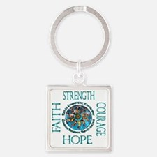 Faith Strength Courage Hope - Bloc Square Keychain