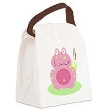 Fiona the Pink Frog Canvas Lunch Bag