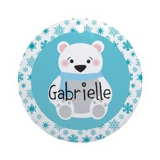 Personalized Christmas Snow Bear Ornament (Round)
