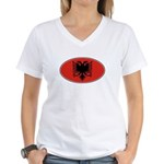 Alabaniam Oval Flag Women's V-Neck T-Shirt