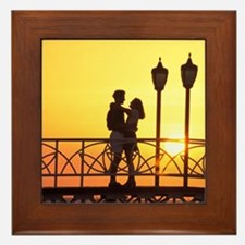 Caribbean, Aruba, Romantic couple silh Framed Tile