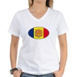 Andorran Oval Flag Women's V-Neck T-Shirt