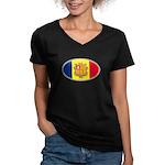 Andorran Oval Flag Women's V-Neck Dark T-Shirt