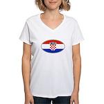 Croatian Oval Flag Women's V-Neck T-Shirt