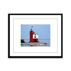 Great Lakes Light Houses Framed Panel Print