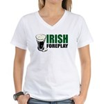 Irish Foreplay Green Women's V-Neck T-Shirt