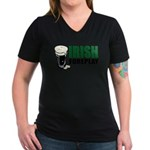 Irish Foreplay Green Women's V-Neck Dark T-Shirt