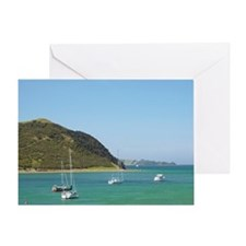 Pohutukawa tree and yachts moored in Greeting Card