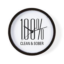 100 Percent Clean and Sober Wall Clock