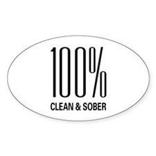 100 Percent Clean and Sober Oval Decal