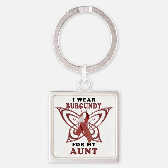 I Wear Burgundy for my Aunt Square Keychain