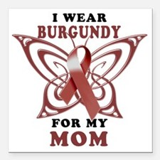 "I Wear Burgundy for my M Square Car Magnet 3"" x 3"""