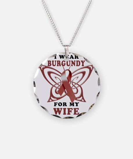 I Wear Burgundy for my Wife Necklace