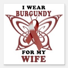 "I Wear Burgundy for my W Square Car Magnet 3"" x 3"""