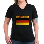 Germany Women's V-Neck Dark T-Shirt