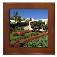 Pastel architecture and colorful garde Framed Tile