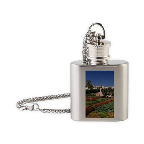 Pastel architecture and colorful ga Flask Necklace