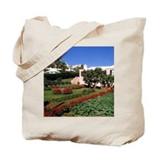 Pastel architecture and colorful gardens  Tote Bag