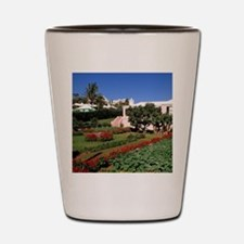 Pastel architecture and colorful garden Shot Glass
