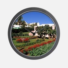 Pastel architecture and colorful garden Wall Clock