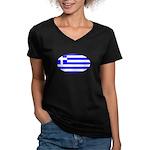 Greek Flag Women's V-Neck Dark T-Shirt