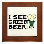 I See Green Beer St Pat's Framed Tile