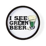I See Green Beer St Pat's Wall Clock
