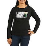 I See Green Beer St Pat's Women's Long Sleeve Dark