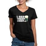 I See Green Beer St Pat's Women's V-Neck Dark T-Sh
